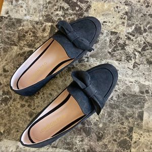 LONDON RAG black suede bow loafers flats